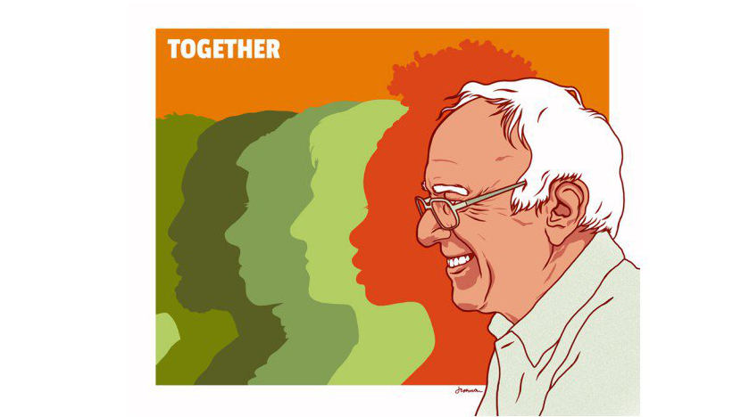 together campagna twitter di bernie sanders